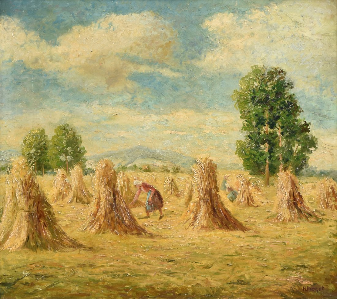 "H. FROGUT (20th Century) A PAINTING, ""Figure in Field"
