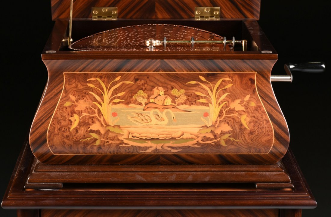 A PORTER EXOTIC WOODS INLAID BURLED WALNUT MARQUETRY - 10