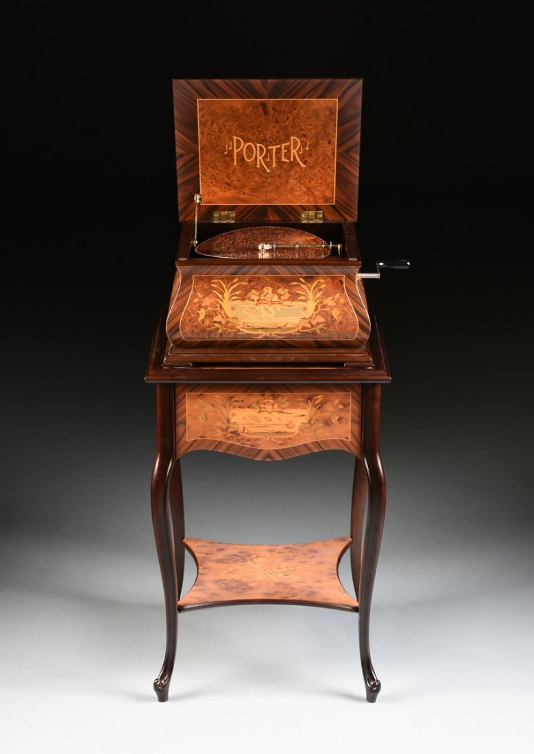 A PORTER EXOTIC WOODS INLAID BURLED WALNUT MARQUETRY