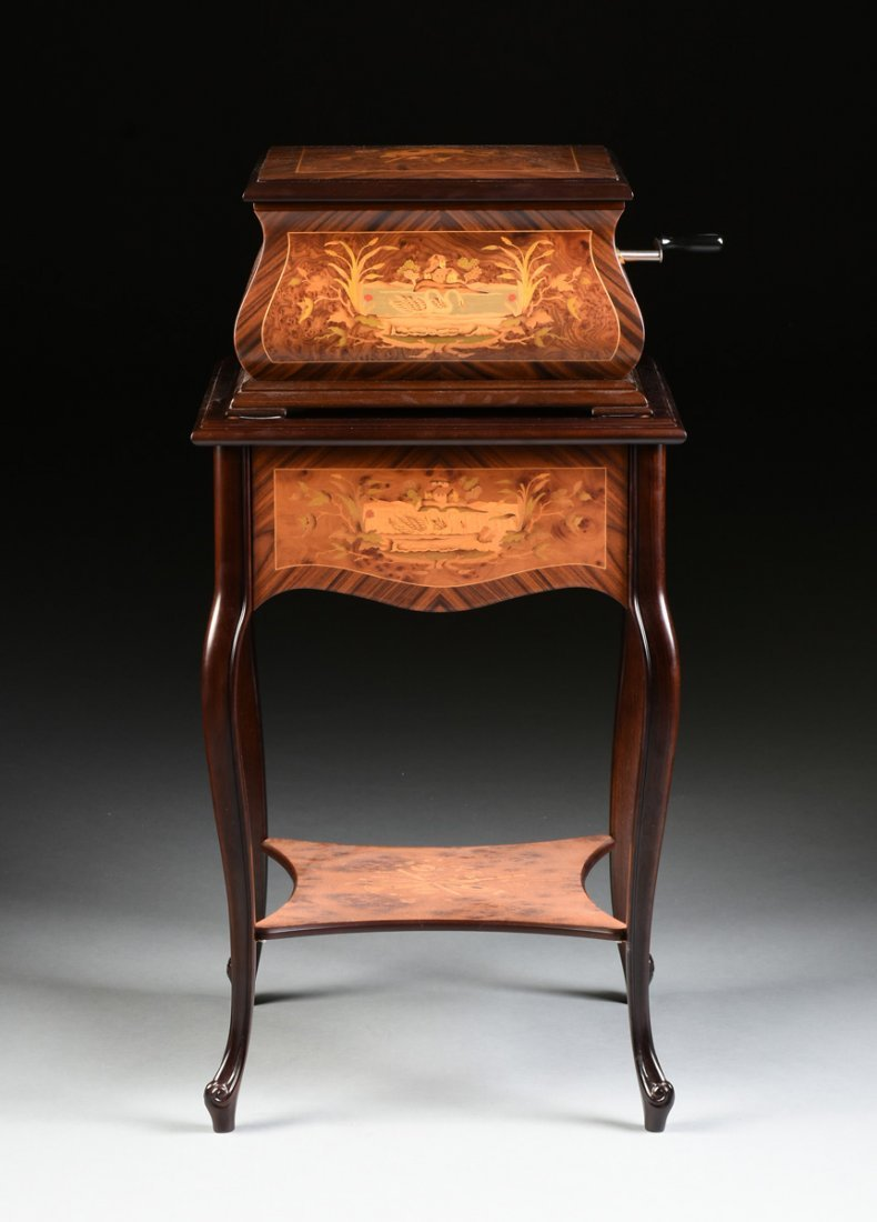 A PORTER EXOTIC WOODS INLAID BURLED WALNUT MARQUETRY - 2