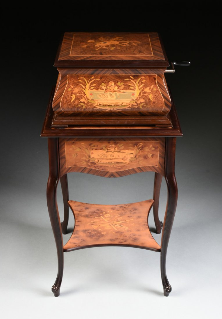 A PORTER EXOTIC WOODS INLAID BURLED WALNUT MARQUETRY - 3