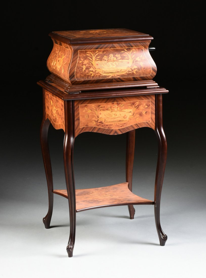 A PORTER EXOTIC WOODS INLAID BURLED WALNUT MARQUETRY - 4