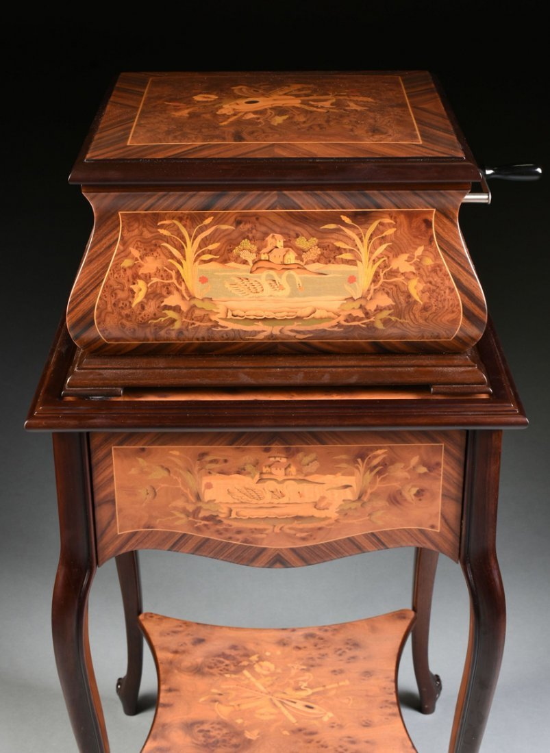 A PORTER EXOTIC WOODS INLAID BURLED WALNUT MARQUETRY - 5