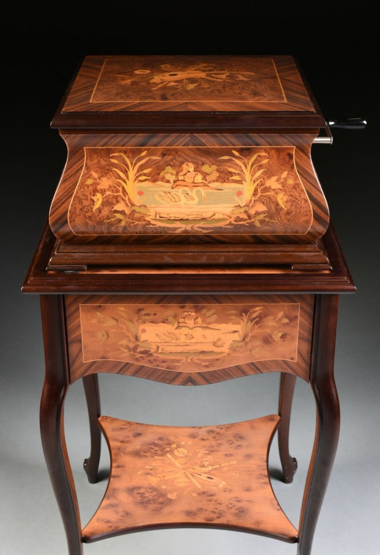 A PORTER EXOTIC WOODS INLAID BURLED WALNUT MARQUETRY - 6