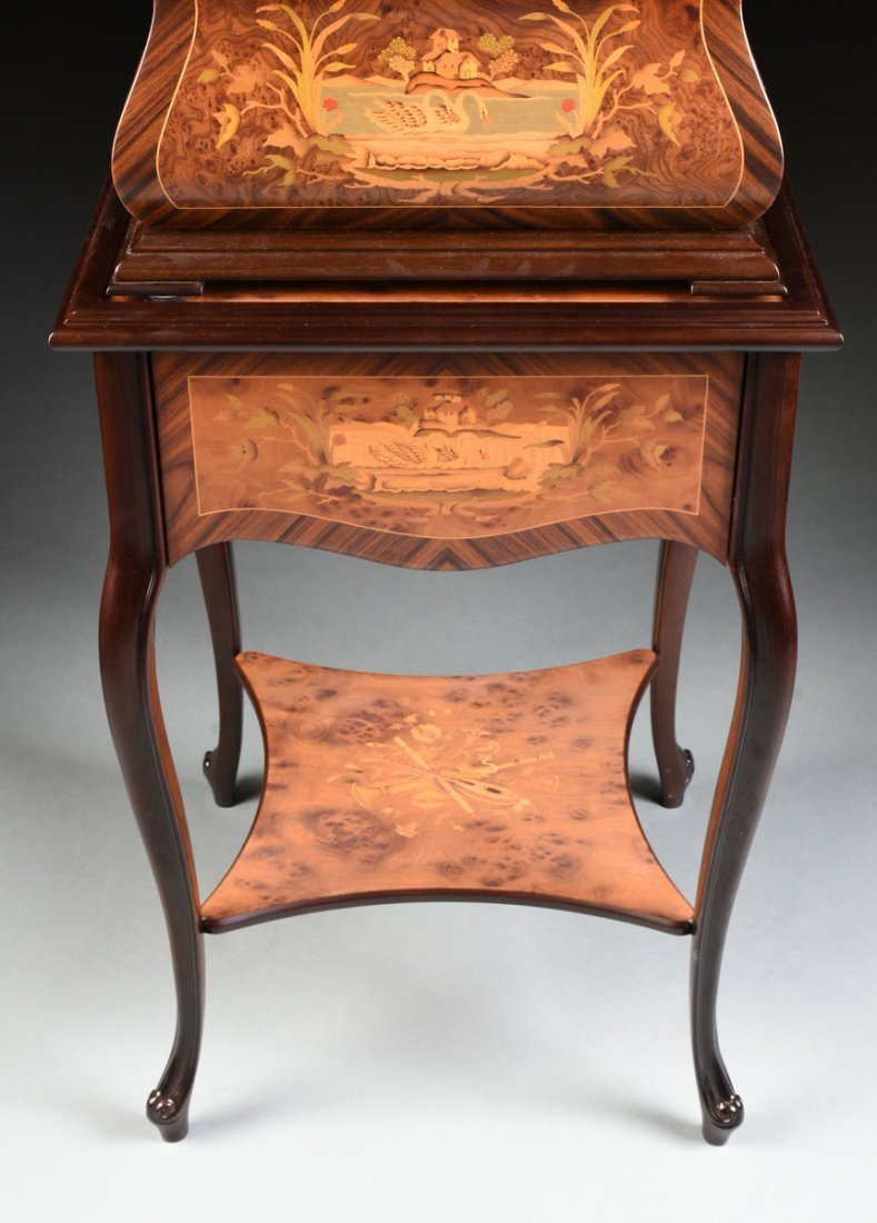 A PORTER EXOTIC WOODS INLAID BURLED WALNUT MARQUETRY - 7