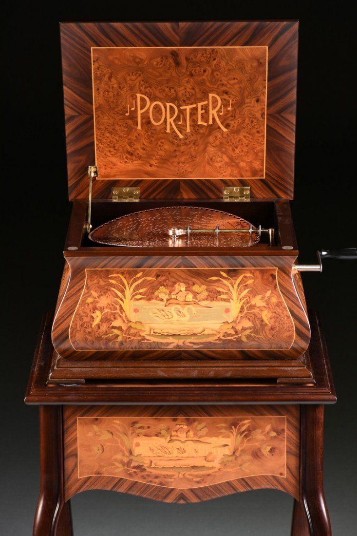 A PORTER EXOTIC WOODS INLAID BURLED WALNUT MARQUETRY - 8