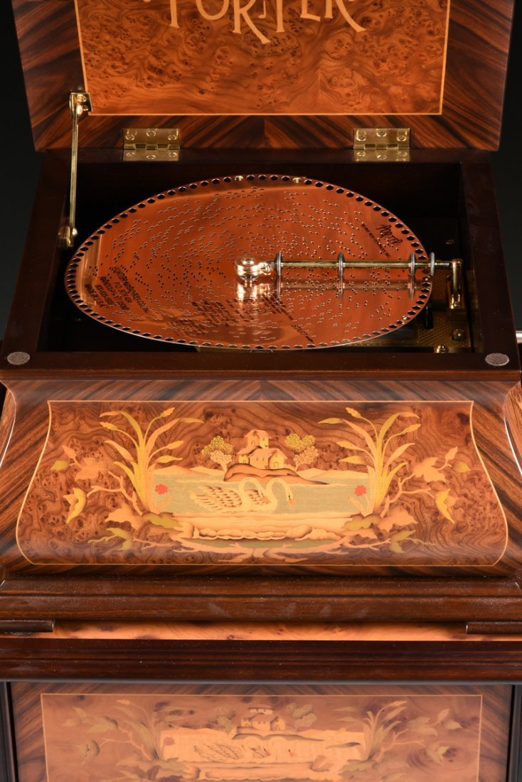 A PORTER EXOTIC WOODS INLAID BURLED WALNUT MARQUETRY - 9