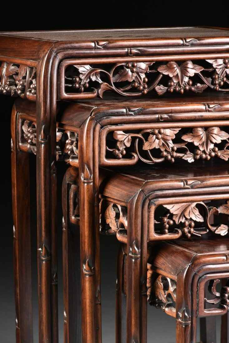 "A SET OF FOUR CHINESE CARVED HARDWOOD ""GRAPEVINE AND - 2"