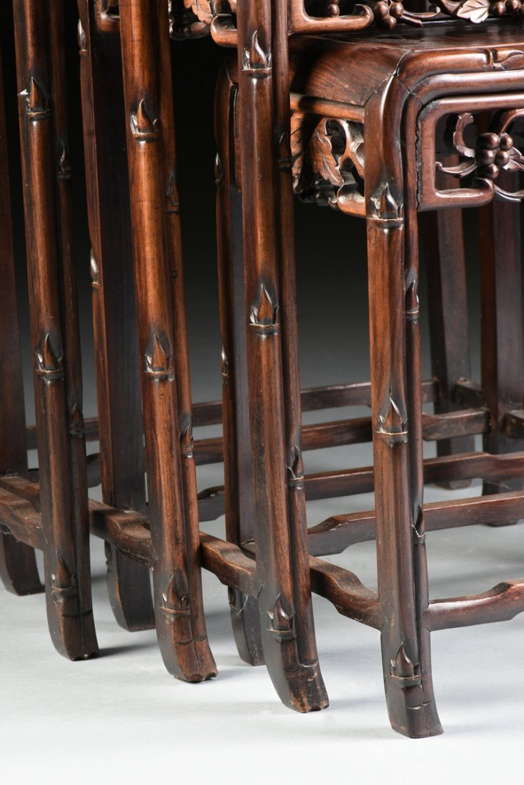 """A SET OF FOUR CHINESE CARVED HARDWOOD """"GRAPEVINE AND - 3"""