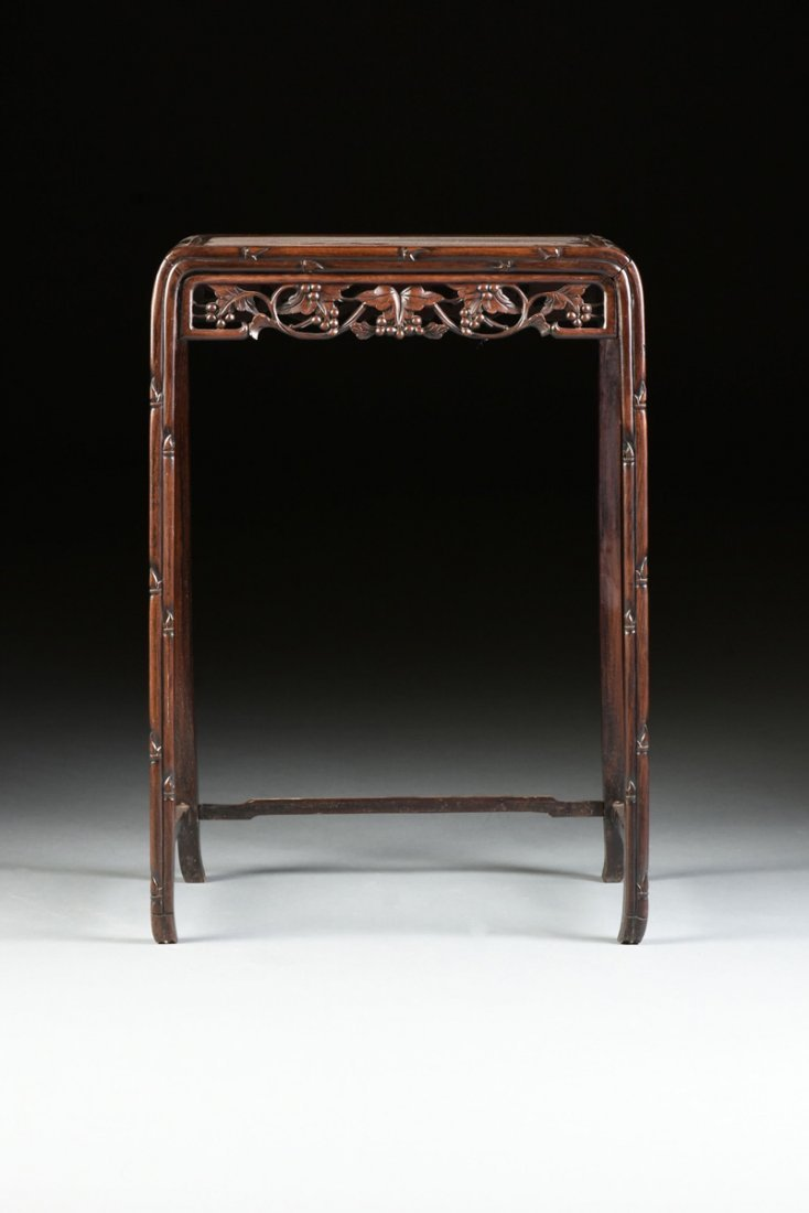 "A SET OF FOUR CHINESE CARVED HARDWOOD ""GRAPEVINE AND - 4"