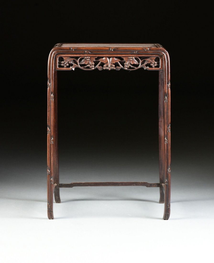 "A SET OF FOUR CHINESE CARVED HARDWOOD ""GRAPEVINE AND - 5"
