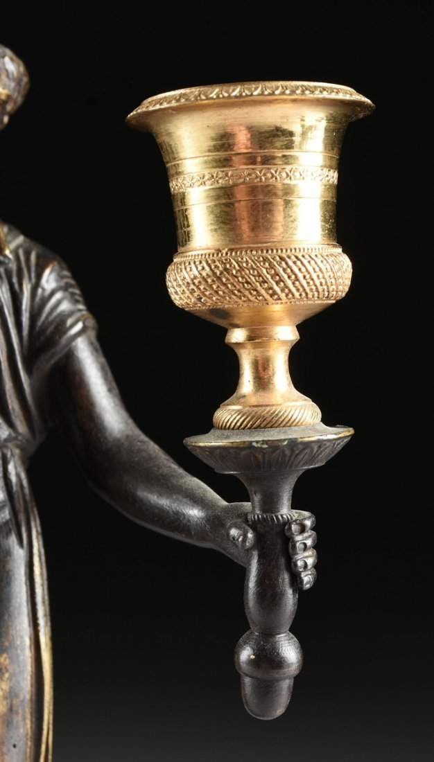 A PAIR OF LOUIS XVI STYLE GILT AND PATINATED BRONZE - 3