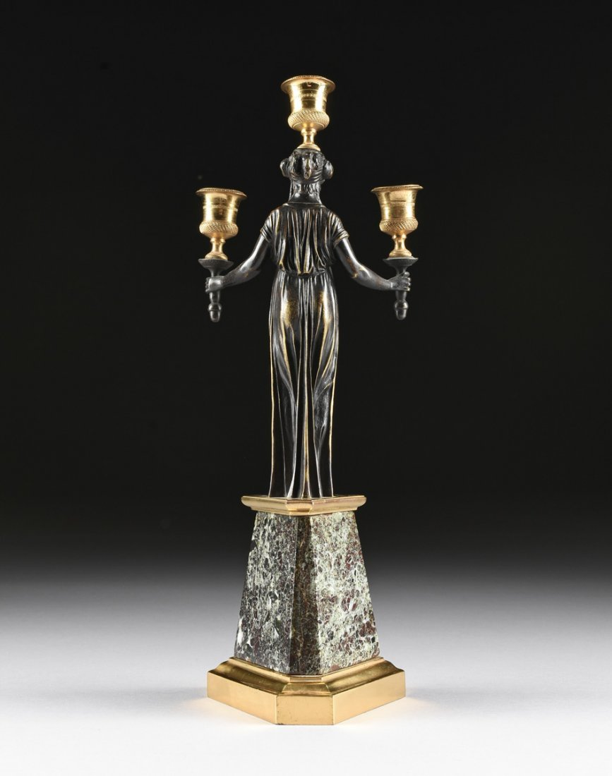 A PAIR OF LOUIS XVI STYLE GILT AND PATINATED BRONZE - 8