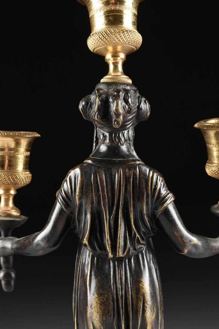 A PAIR OF LOUIS XVI STYLE GILT AND PATINATED BRONZE - 9