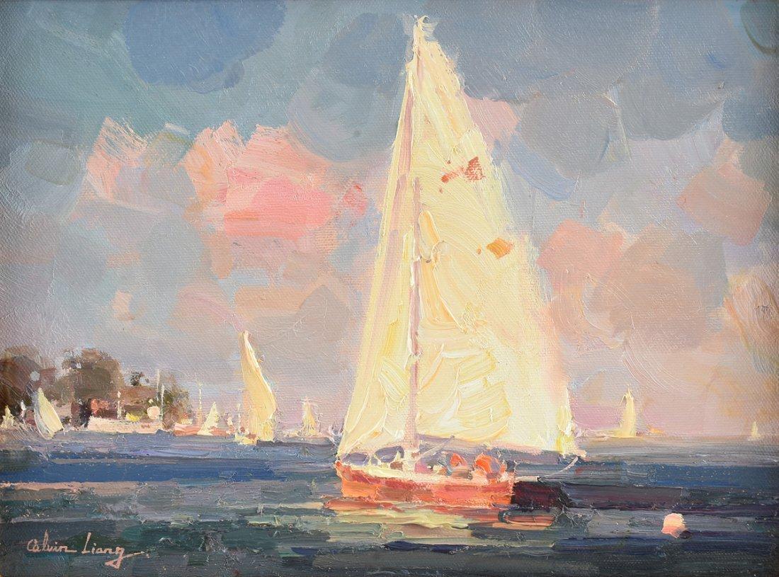 """CALVIN LIANG (American b.1960) A PAINTING, """"Sailboats"""