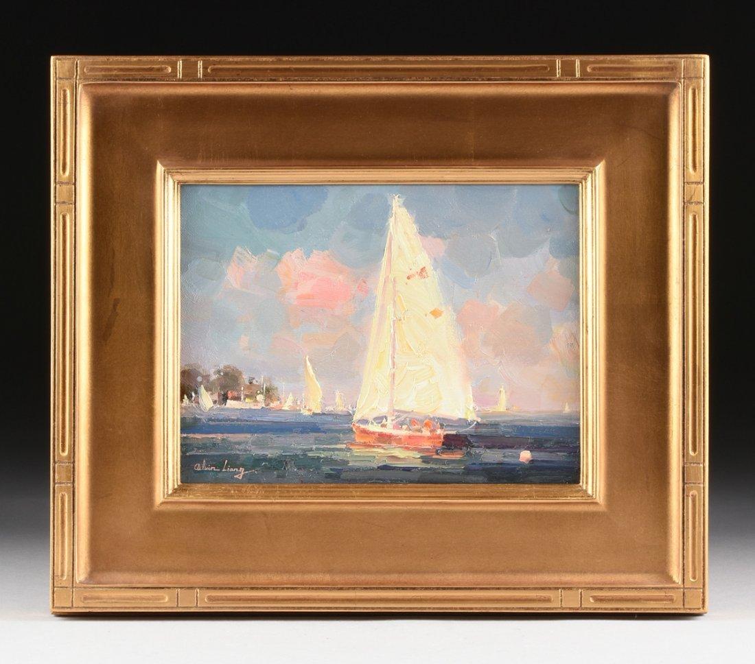 """CALVIN LIANG (American b.1960) A PAINTING, """"Sailboats - 2"""