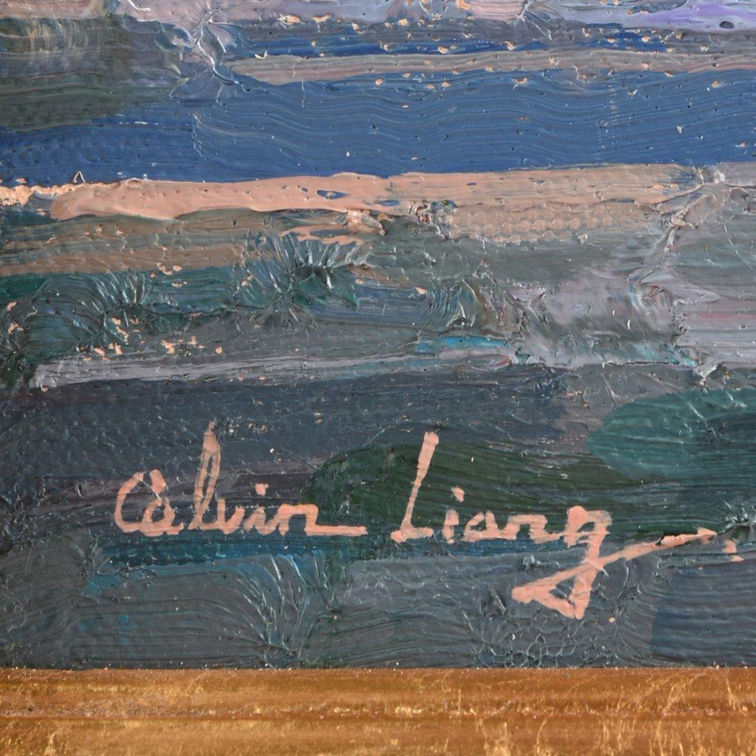 """CALVIN LIANG (American b.1960) A PAINTING, """"Sailboats - 3"""