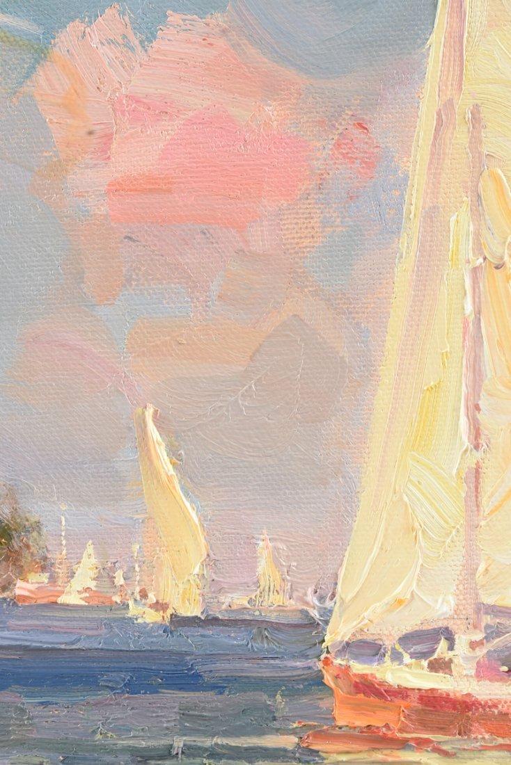 """CALVIN LIANG (American b.1960) A PAINTING, """"Sailboats - 5"""
