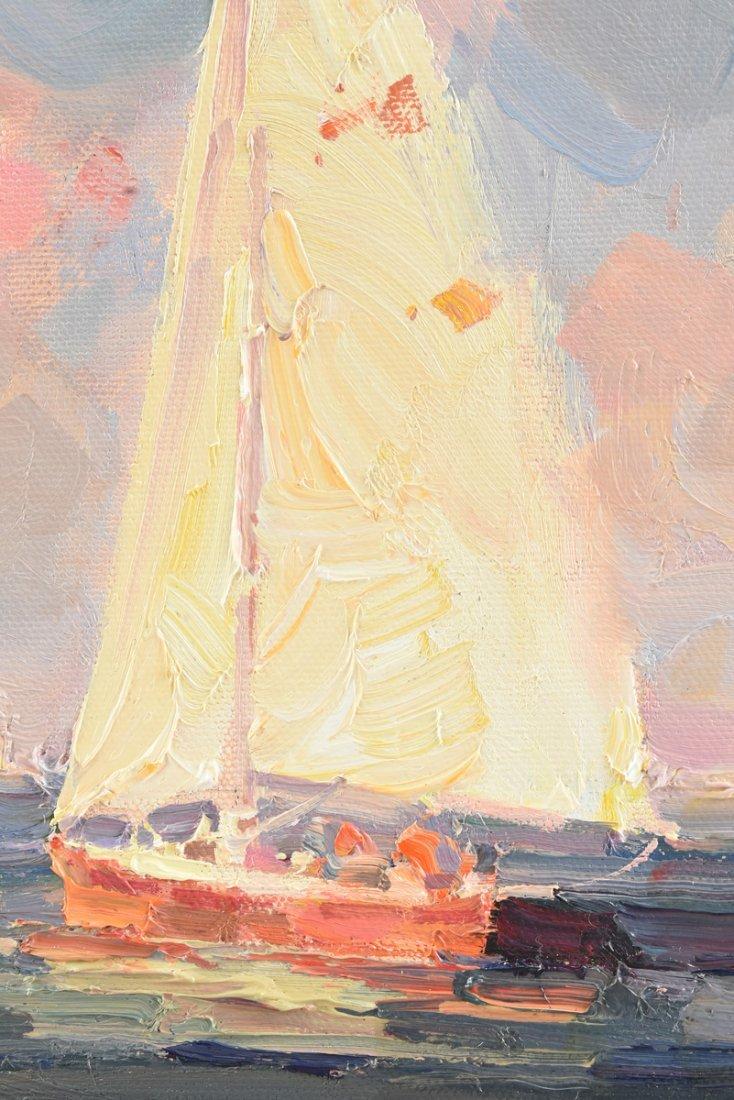 """CALVIN LIANG (American b.1960) A PAINTING, """"Sailboats - 6"""