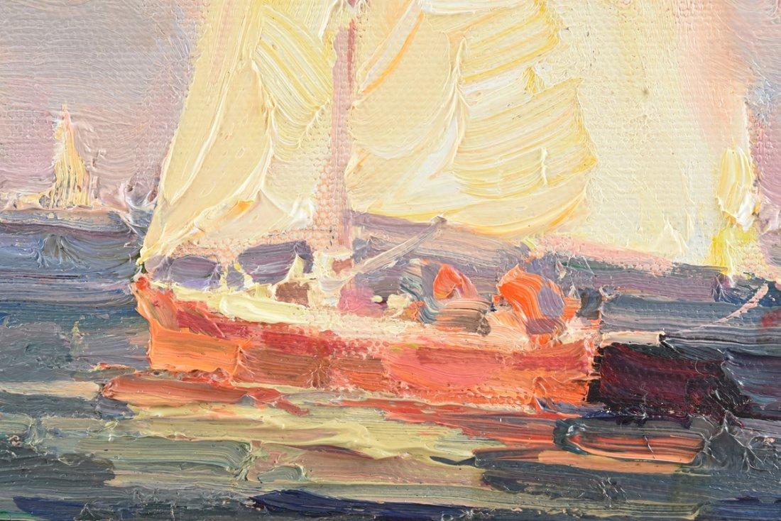 """CALVIN LIANG (American b.1960) A PAINTING, """"Sailboats - 8"""