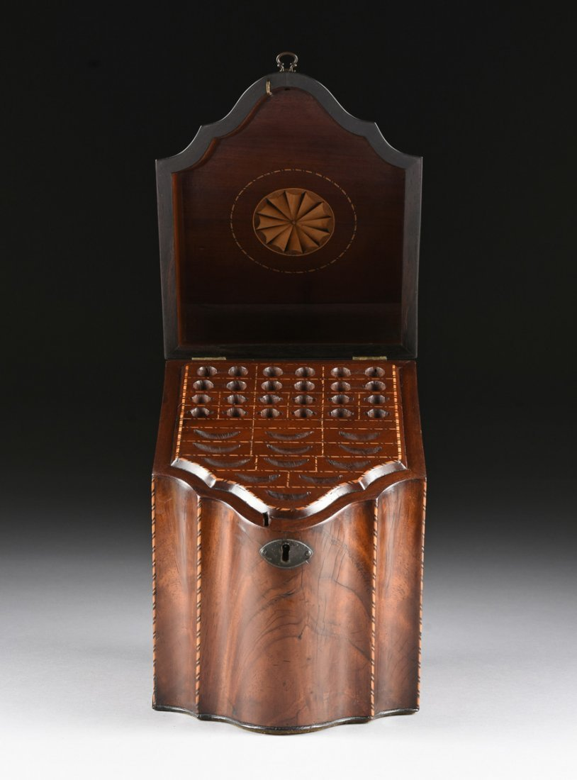 A FEDERAL PERIOD PARQUETRY INLAID FLAME MAHOGANY - 5