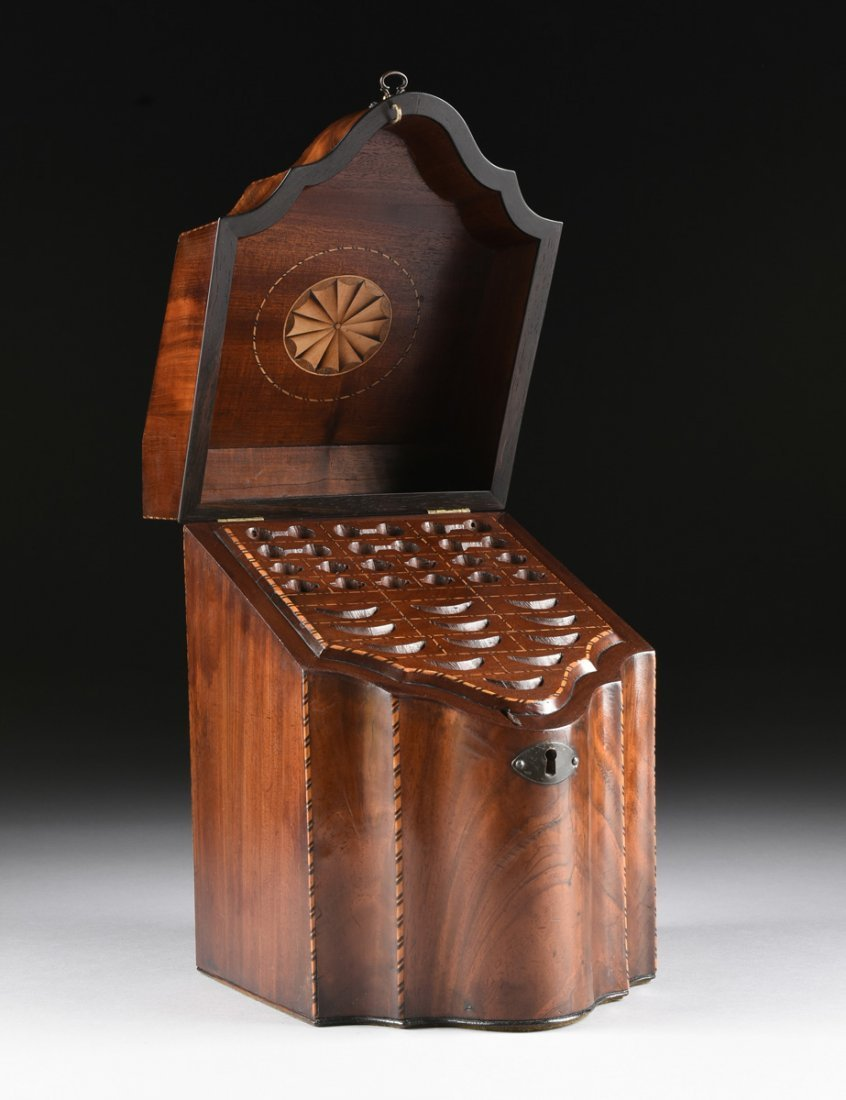 A FEDERAL PERIOD PARQUETRY INLAID FLAME MAHOGANY - 9