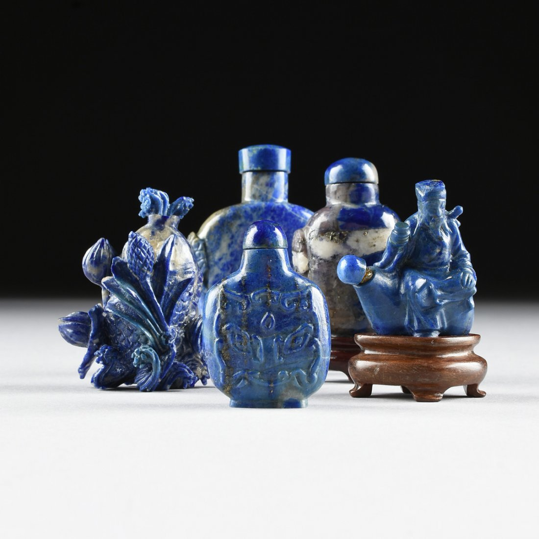 A GROUP OF FIVE CHINESE CARVED LAPIS SNUFF BOTTLES, - 2