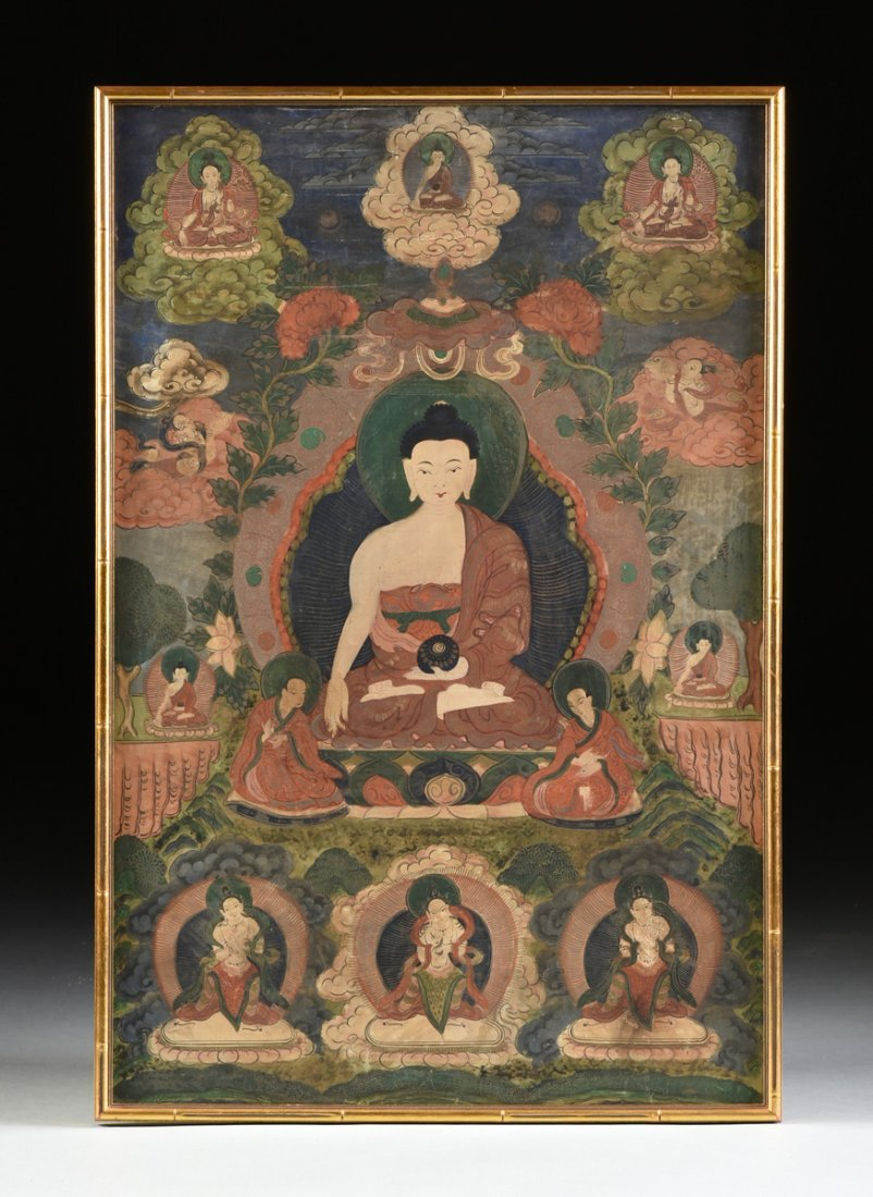 A TIBETAN POLYCHROME PAINTED AND FRAMED THANGKA, - 2