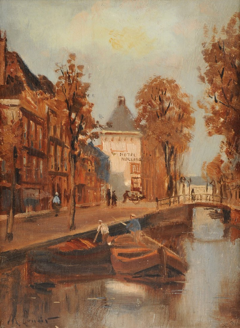 """MAURICE LENOIR (French 1872-1931) A PAINTING, """"Canal"""