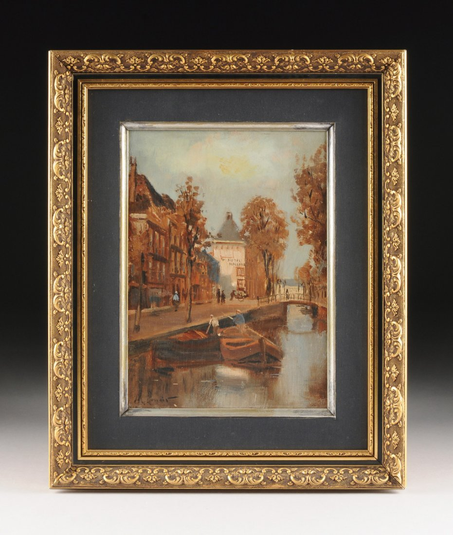 """MAURICE LENOIR (French 1872-1931) A PAINTING, """"Canal - 2"""