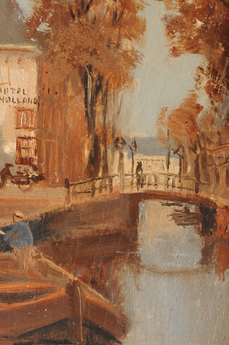 """MAURICE LENOIR (French 1872-1931) A PAINTING, """"Canal - 6"""