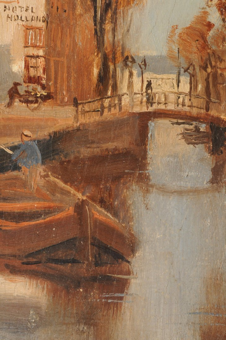 """MAURICE LENOIR (French 1872-1931) A PAINTING, """"Canal - 7"""