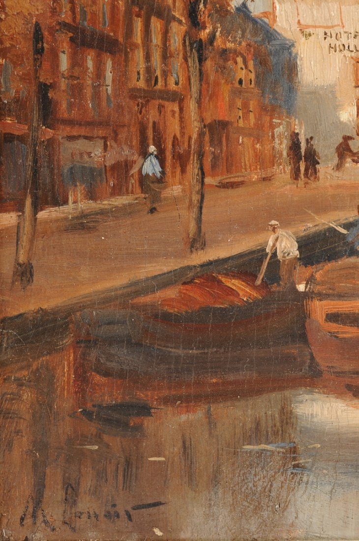 """MAURICE LENOIR (French 1872-1931) A PAINTING, """"Canal - 9"""