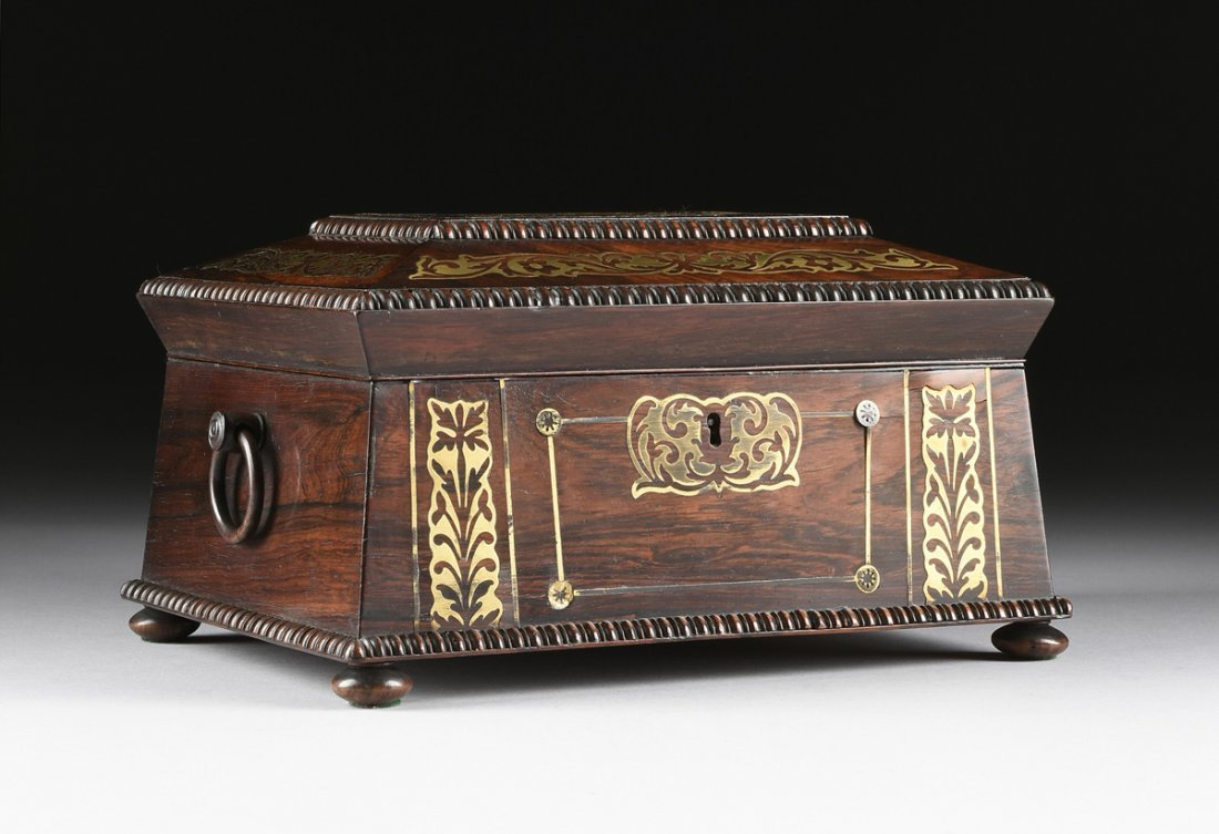A REGENCY BRASS INLAID ROSEWOOD WORK BOX, EARLY 19TH
