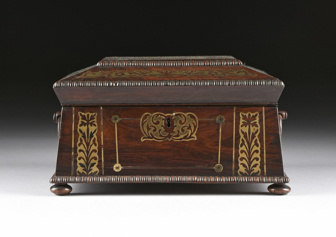 A REGENCY BRASS INLAID ROSEWOOD WORK BOX, EARLY 19TH - 2