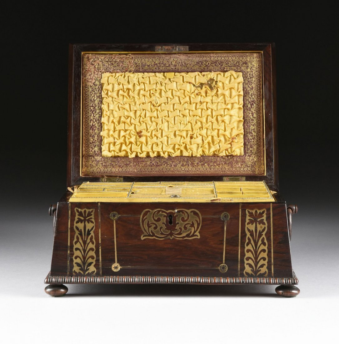 A REGENCY BRASS INLAID ROSEWOOD WORK BOX, EARLY 19TH - 3