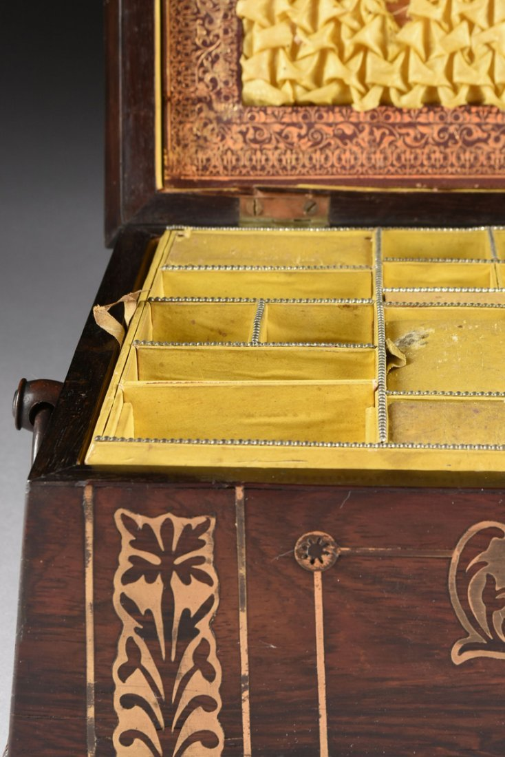 A REGENCY BRASS INLAID ROSEWOOD WORK BOX, EARLY 19TH - 4