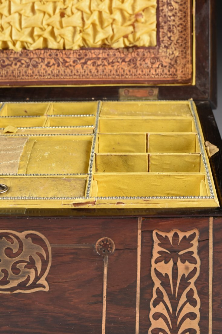 A REGENCY BRASS INLAID ROSEWOOD WORK BOX, EARLY 19TH - 5