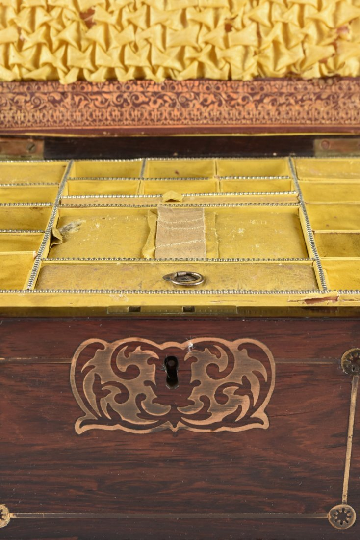 A REGENCY BRASS INLAID ROSEWOOD WORK BOX, EARLY 19TH - 6