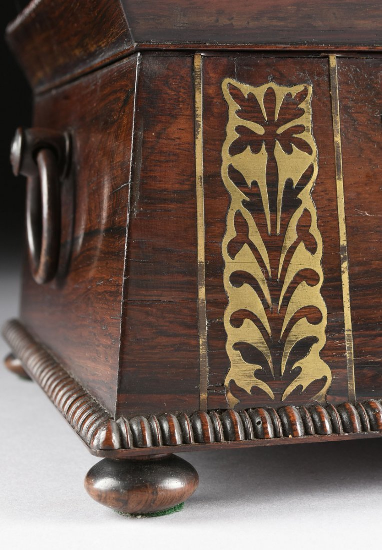 A REGENCY BRASS INLAID ROSEWOOD WORK BOX, EARLY 19TH - 7