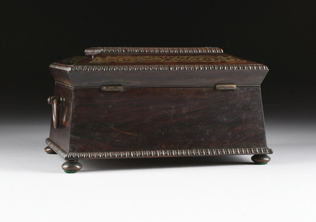 A REGENCY BRASS INLAID ROSEWOOD WORK BOX, EARLY 19TH - 9