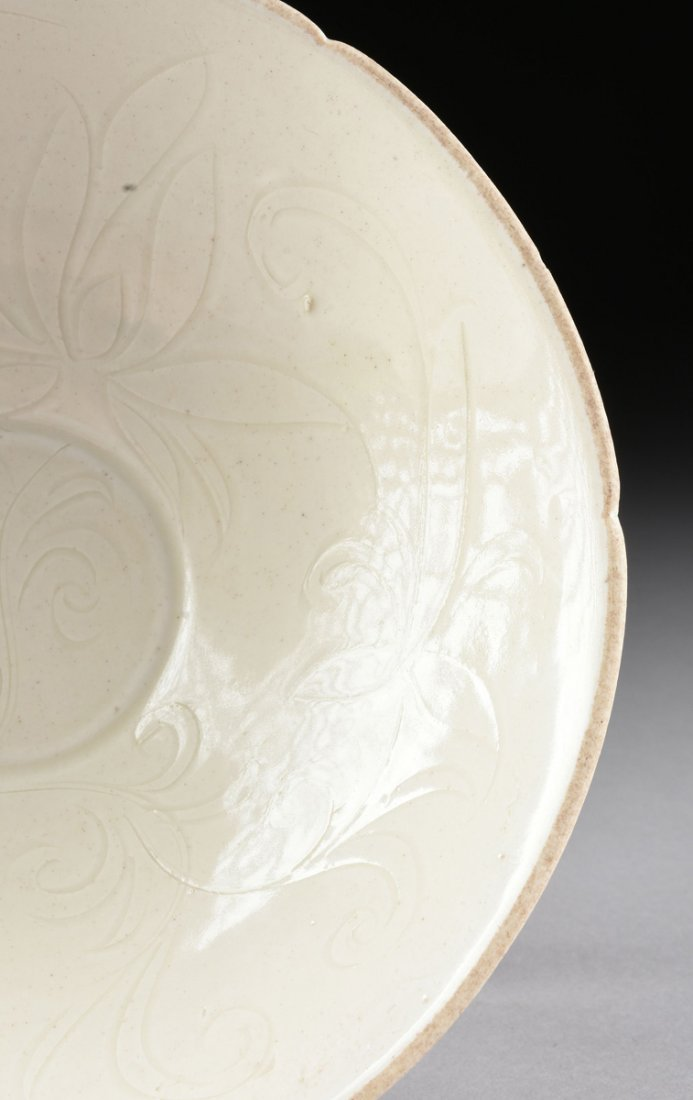 A CHINESE INCISED AND WHITE GLAZED SHALLOW BOWL, - 4