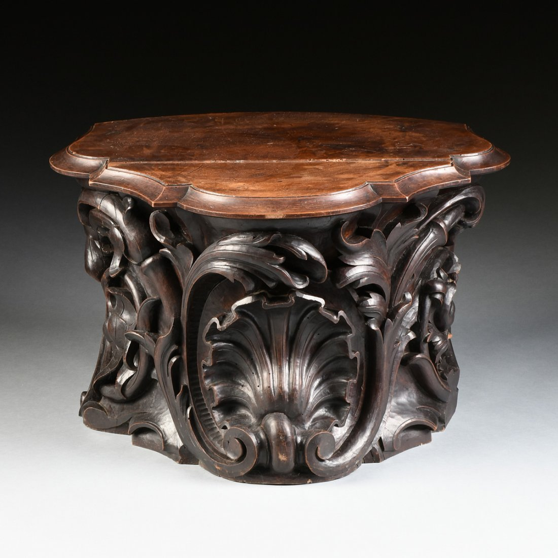 A ROCOCO REVIVAL STYLE CARVED WALNUT PEDESTAL BASE - 2