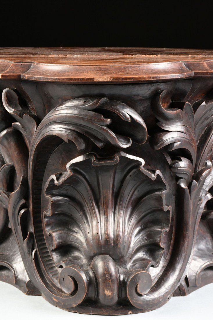 A ROCOCO REVIVAL STYLE CARVED WALNUT PEDESTAL BASE - 5