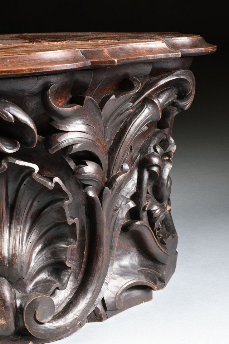 A ROCOCO REVIVAL STYLE CARVED WALNUT PEDESTAL BASE - 6