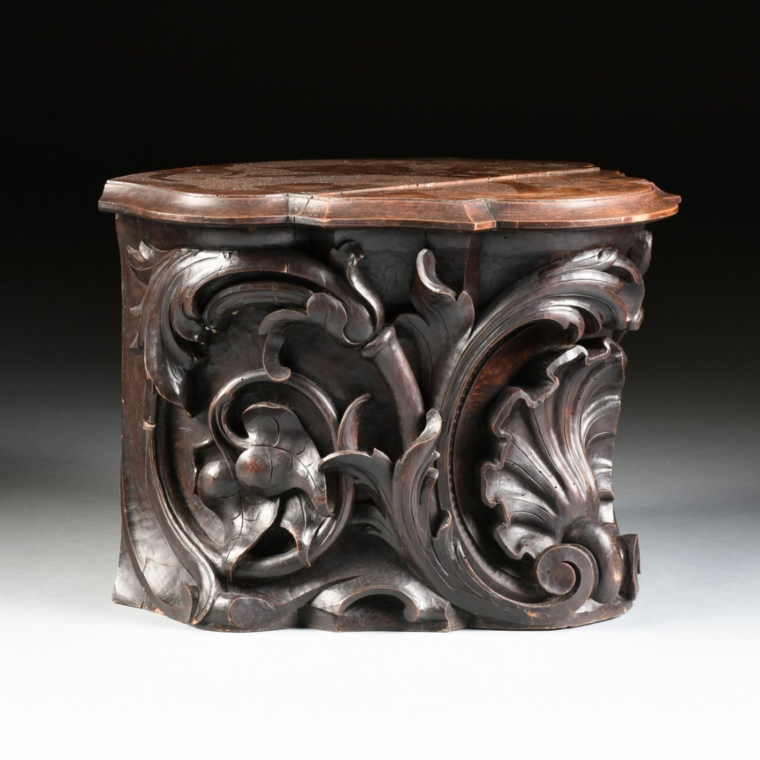 A ROCOCO REVIVAL STYLE CARVED WALNUT PEDESTAL BASE - 7