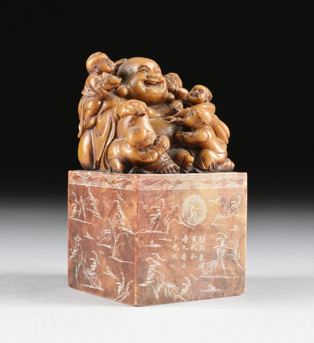 A CHINESE CARVED SOAPSTONE LAUGHING BUDDHA SEAL STAMP,