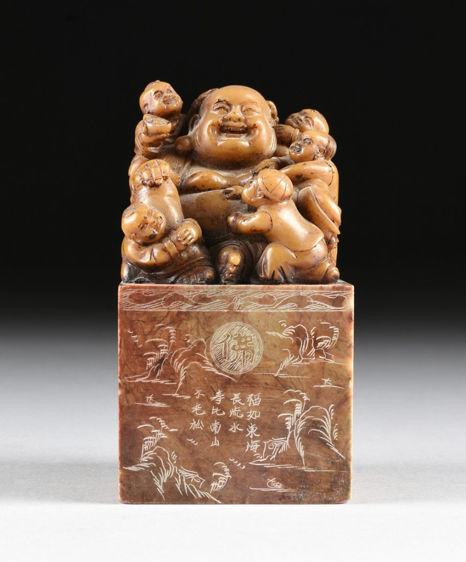 A CHINESE CARVED SOAPSTONE LAUGHING BUDDHA SEAL STAMP, - 2