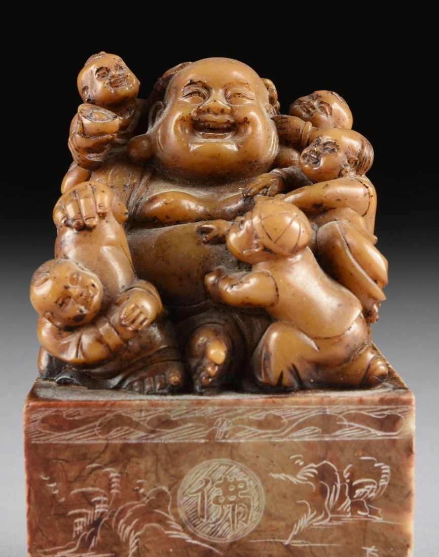 A CHINESE CARVED SOAPSTONE LAUGHING BUDDHA SEAL STAMP, - 3