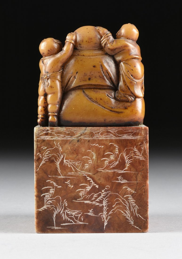 A CHINESE CARVED SOAPSTONE LAUGHING BUDDHA SEAL STAMP, - 7